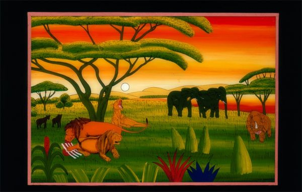 UCLA Fowler Museum Collection: X91.1609 Kenyan landscape glass painting