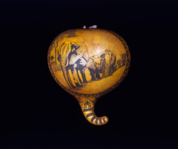 UCLA Fowler Museum Collection: X91.578 Pyroengraved half-gourd