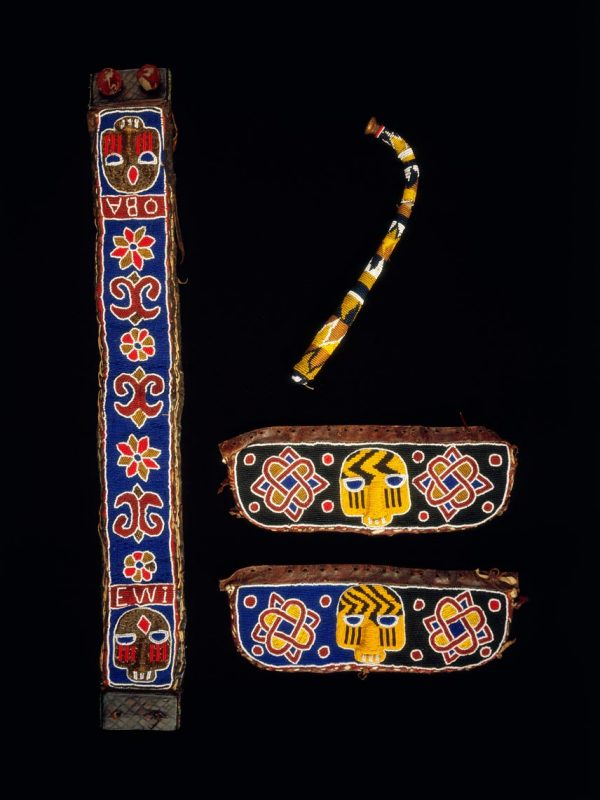 UCLA Fowler Museum Collection: X97.29.6a-d Beaded drum regalia: Drum strap, stick, and bante